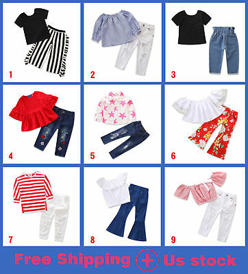 Toddler Kid Baby Girls Outfits Clothes T-shirt Tops+Pants/Jeans/Shorts 2PCS Sets