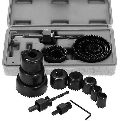 11 HOLE SAW KIT SET 19-64mm HEAVY METAL CIRCLE CUTTER ROUND DRILL WOOD DOWNLIGH