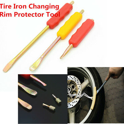 3pc Motorcycle Spoon Tire Iron Kit Tire Change Lever Tool w/ Rim Protectors Kits