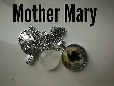 Code 370 Mother Mary quartz infused Necklace Confirmation Communion Cabochon