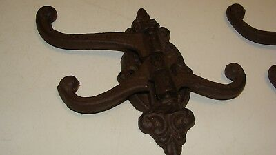 Cast Iron SWIVEL Coat Hat Hooks Rack Hall Tree Restoration Hardware