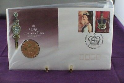 2003 QEII CORONATION GOLDEN JUBILEE PNC with GOLD COLOURED 50c COIN MINT