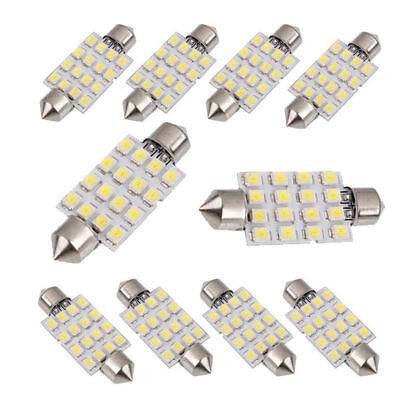 10pcs white 42mm 16SMD Car LED Festoon Dome Map Interior Cargo Light Bulbs