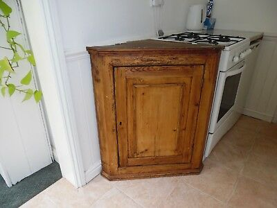 Antique Victorian Stripped Pine Corner Kitchen Cabinet / Cupboard - Diy Project