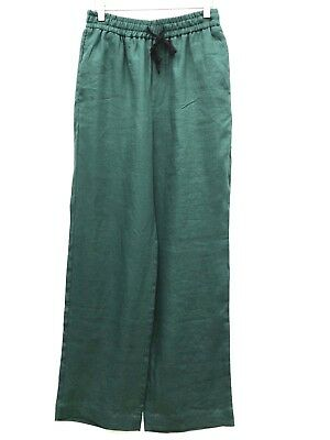 Zara Green Linen Loose Fit Trousers With Bow Size S M L Ref 7149 081