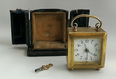 Vintage Miniature Boudoir Brass Alarm Carriage Mantle Clock With Case & Key