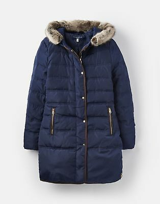Joules Womens 124805 Faux Fur Hooded Longline Padded Jacket in FRENCH NAVY