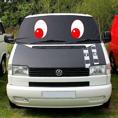 VW Transporter T4 Window Screen Cover Curtain Frost Black Out Blind Eyes Red