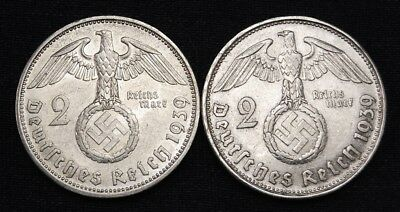 One (1) German WWII, Two Mark Silver Coin, All High Grade