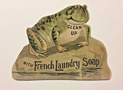 Victorian die-cut frog advertisement card French Laundry Soap, Kendall Mfg Co.