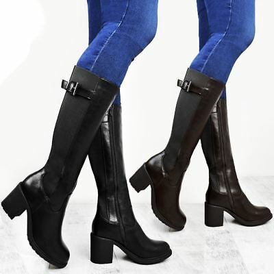 Womens Ladies Calf High Boots Riding Stretch Wide Leg Low Block Heel Winter Size