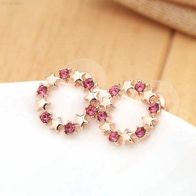 E798 women stars pentacle pink earrings stud female accessories gift high qualit