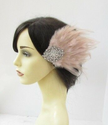 Nude Silver Diamante Feather Fascinator Hair Clip Races 1920s Beige Crystal 6187