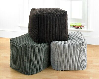 Corded Cube Pouffe Footstool Foot Rest Stool Beanbag filled Grey, Brown or Beige