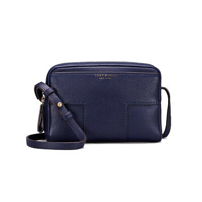 a2e97deaaa6 TORY BURCH Block T Pebbled Double Zip Crossbody Womens Bag NWT Gift Royal  Navy
