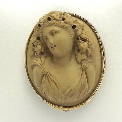 Victorian 14K Gold Ultra High Relief Carved Lava Cameo Brooch Pin Pendant