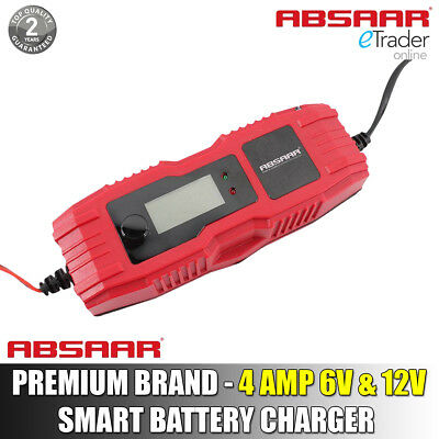 Smart Battery Charger Absaar 4Amp 6V 12V Intelligent Auto Car Bike Automatic