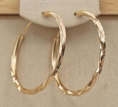 "18K Gold Filled - 1.4"" Big Hoop Geometry Concave &convex Women Pageant Earrings"