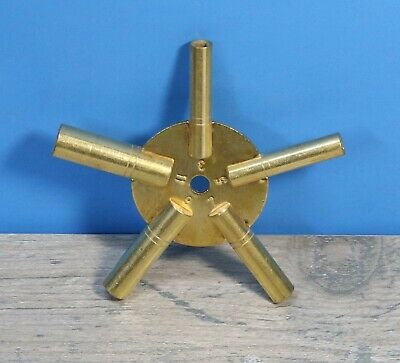 Antiques Maritime 5023 Brass Universial Clock Key For Winding Clocks 5 Prong Odd Numbers