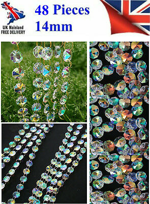 48pc CHANDELIER LIGHT AB CRYSTALS DROPLETS GLASS BEAD WEDDING DROPS 14MM PRISM