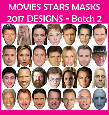 TOP 21 X Celebrity Face Mask MEGA PACK Fancy Dress Costume Party READY CUT
