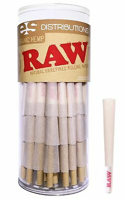 RAW Organic 1 1/4 Pure Hemp Pre-Rolled Cones With Filter (75 pack) 75 Pack
