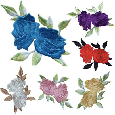 Double Head Rose Flower Leaves Embroidery Iron On Applique Patch Sew On Repair