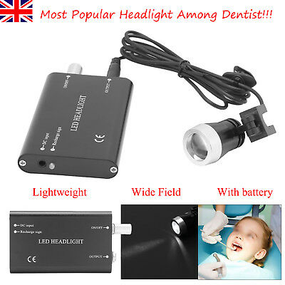 Portable Black Dental Surgical LED Head Light Lamp for Dental Loupe Glasses UK