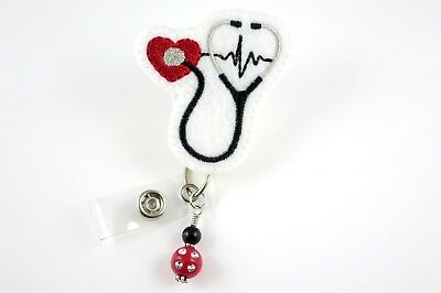 Stethoscope Red Heart - Retractable ID Name Nurse Badge Holder Reel RN Lanyard