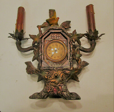 Unusual Lite Clock Frame Tree Bird Black Forest German Cold Painted Lead No Resv