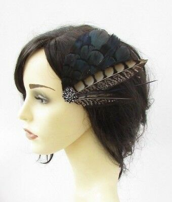 Navy Blue Black Brown Pheasant Feather Fascinator Hair Clip Races Wedding 6191