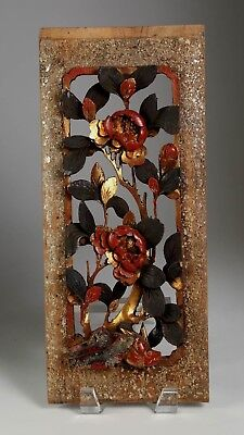 China Chinese Gilded Lacquer Polychrome Carved Floral Wood Panel Qing ca. 1900