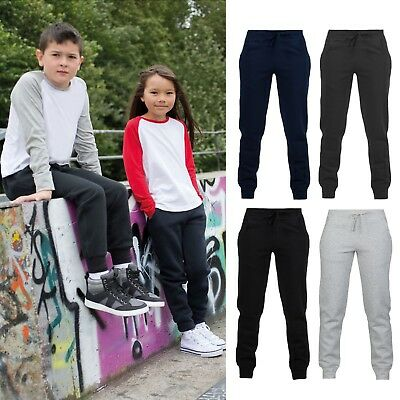 Kids Boys Girls Sports Jogging Joggers Cuff Fleece Trouser Sweat Pants Ages 5-13