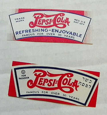 "(LOT OF 2 DIFFERENT) 1940's ""PEPSI:COLA"" BOTTLE NECK LABELS"