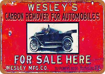 "7"" x 10"" Metal Sign - Wesley's Carbon Remover for Autos - Vintage Look Reproduct"
