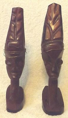 "Vintage Woodware--African Hand Carved Figurines--9"" Tall-Very Nice-Great Patina"