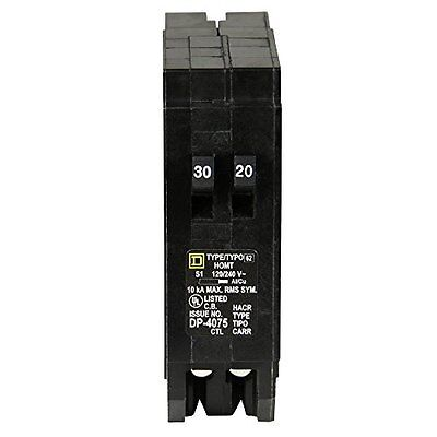 HOMT3020CP Homeline 1-30-Amp 1-20-Amp Single-Pole Tandem Circuit Breaker