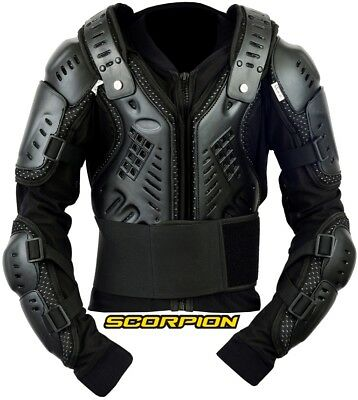 Kids/cubs Black Scorpion Spine Guard Ce Body Armour Motorbike Protection Jacket