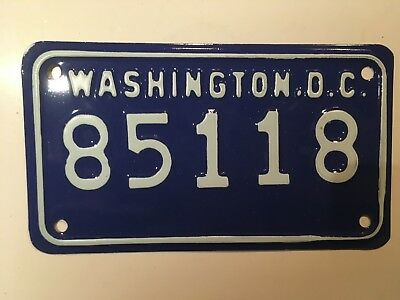 1985 Washington DC Motorcycle License Plate District of Columbia NICE ORIGINAL!!