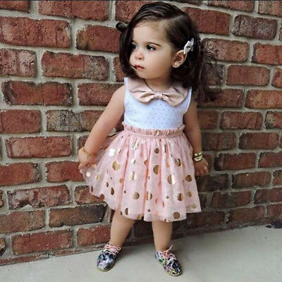 S-020 Girl's Sleeveless Peach/Gold Bow Sequins Dress Size 12M-5T(Free Shipping)