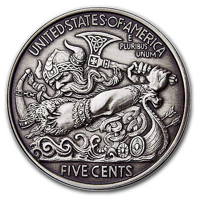 5 oz Silver Antique Hobo Nickel (Viking Berserker) - SKU#172328