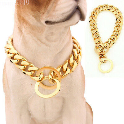 Big Gold Plated Dog Chain Curb 316L Stainless Steel Pet Training Collar Choker