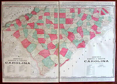 North & South Carolina c.1880's large lithographed hand color old map 2 sheets