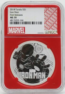 Iron Man 2018 Coin 999 Silver 1 oz NGC MS70 Redcore Tuvalu Marvel Comics -JY923