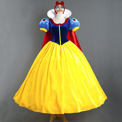 Snow White Costume Adult+Petticoat Fairytale Princess Ladies Fancy Dress Cosplay