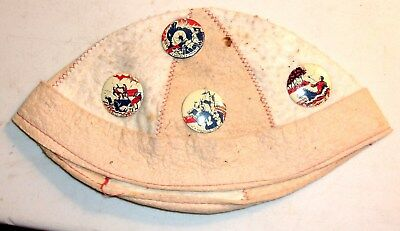 "Vintage 1930s Era BOYS BEANIE With 7 Original Western Cowboy 1-1/4"" Pins"