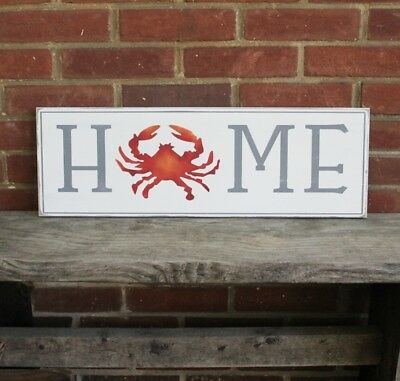 Home Sign with Crab Hand Painted Beach Coastal Decor Chesapeake Bay Rustic Sign