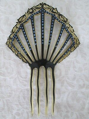 Antique Victorian Hair Comb With Blue Rhinstones...