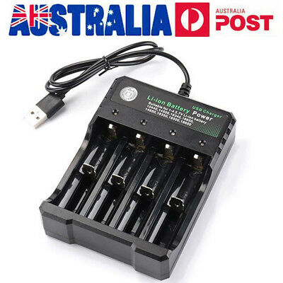AU Universal USB 4 Slots Smart Battery Charger for 18350 14500 18650 Batteries