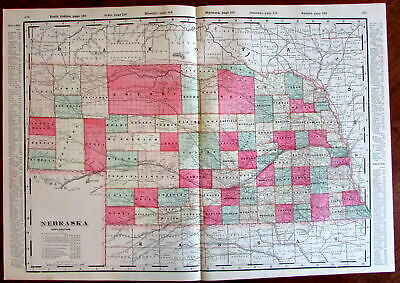 Nebraska state by itself c.1880's large lithographed hand color old map